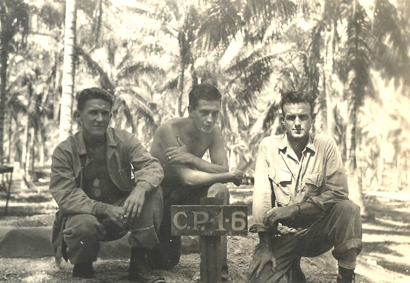 Norm Bayley (r) A rare quiet moment in Guadalcanal